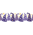 magical starry wizard hats seamless border vector image vector image