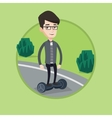 Man riding on self-balancing electric scooter vector image vector image