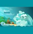 natural disasters tsunami poster vector image vector image