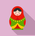 nesting doll icon flat style vector image