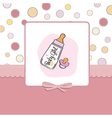new baby girl announcement card with milk bottle vector image