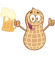 Peanut holding a beer vector image vector image
