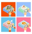 Photo of food with smartphone vector image vector image