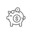 piggy bank save money line icon isolated on vector image