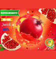 pomegranate juice ads realistic advertising vector image vector image