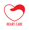 red and white heart logohealth care vector image vector image