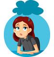 sad depressed girl sitting at her desk vector image