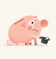 sad empty piggy bank beg for money vector image