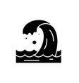 sea wave black icon sign on isolated vector image