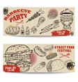 set of bbq party invitation templates on light vector image vector image