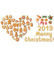 set of gingerbreads and traditional christmas vector image