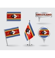 Set of Swaziland pin icon and map pointer flags vector image vector image