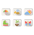 Spring icons buttons isolated on white vector image