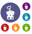 toy bucket and shovel icons set vector image vector image