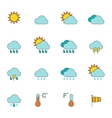 Weather outline icons flat vector image
