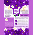 welcome spring poster template with floral border vector image vector image