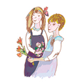 Girls with flowers cute sketch vector image