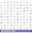 100 manual icons set outline style vector image