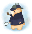 adorable bear in detective costume vector image vector image
