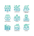 ageing society icons set vector image