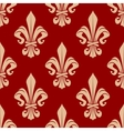 Beige and red seamless fleur-de-lis pattern vector image