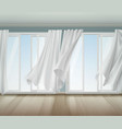 billowing curtains open window vector image