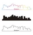 boston skyline linear style with rainbow vector image vector image