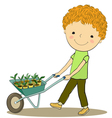 boy and sprout vector image