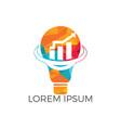 bulb lamp with arrow logo design vector image