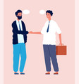 business deal businessmen shake hands talking vector image vector image