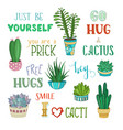 cacti and hand-written lettering vector image
