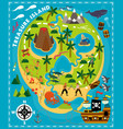 cartoon pirate map treasure travel adventure vector image