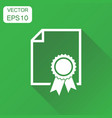 certificate icon business concept diploma award vector image