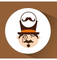 character male hipster mustache vector image vector image
