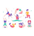 children doing physical exercises set various vector image vector image