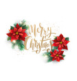christmas tree and flower decoration isolated vector image vector image
