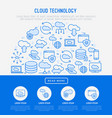 cloud computing technology concept in half circle vector image vector image