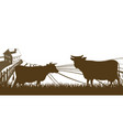cows and farm rolling hills landscape vector image vector image