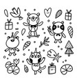 cute doodle animal characters set vector image
