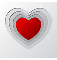 deep layer red heart hole paper cutting art vector image