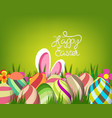easter greeting card with colorful eggs on green vector image vector image