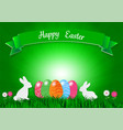easter holiday background with eggs on green vector image