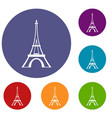 eiffel tower icons set vector image vector image