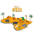 figure african continent with cute animals vector image