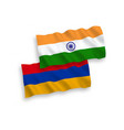 flags india and armenia on a white background vector image
