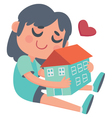 Girl hugging a House vector image vector image