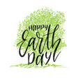 happy earth day hand lettering background vector image vector image