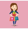 Happy woman holding shopping bags and gift boxes vector image vector image