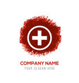 hospital plus sign button icon - red watercolor vector image vector image
