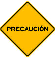 Isolated single precaucion sign vector image vector image